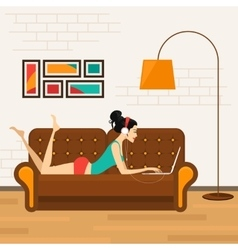 Beautiful girl with laptop on sofa vector
