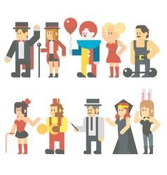 Flat design of circus show set vector