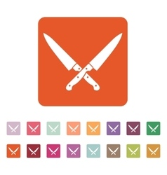 The crossed knives icon knife and chef kitchen vector