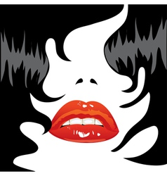 brunette sexy lips vector image