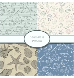 Set of 4 seamless patterns with shells vector
