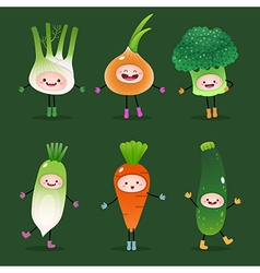 Collection of cartoon vegetables vector