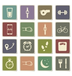 Jogging and workout simply icons vector