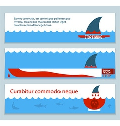 set of banners about save sharks and undersea vector image