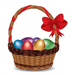 Basket with colorful eggs2 vector