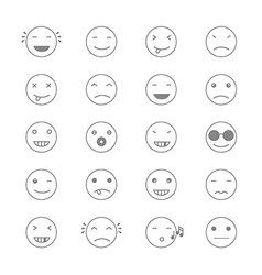 Emoticons collection set of emoji flat monochrome vector