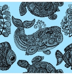 Sea turtle whale water plant and fish in paisley vector image