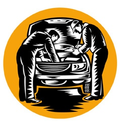 Auto mechanic worker car repair vector
