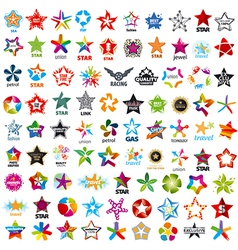 biggest collection of logos five pointed stars vector image vector image