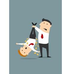 Cartooned businessman robbing a colleague vector