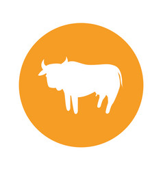Cow round icon vector