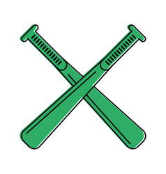 Crossed baseball bats sport or fitness related vector