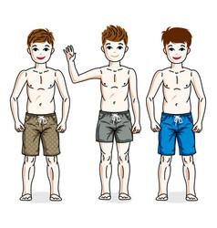 Cute happy young teen boys posing wearing vector