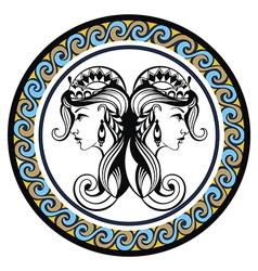 Decorative Zodiac sign Gemini vector image