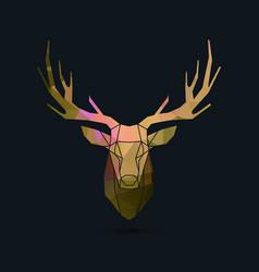 Deer portrait invert frame color poly vector