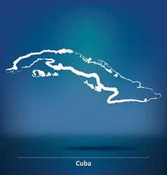 Doodle map of cuba vector