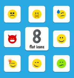 Flat icon emoji set of cross-eyed face have an vector