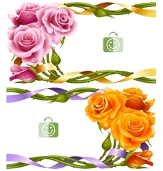 frame set of yellow and pink roses vector image vector image