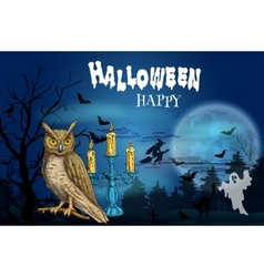 Happy Halloween dark greeting card vector image