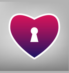 Heart with lock sign purple gradient icon vector