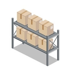 Isometric 3d Shelf with Cartoon Box vector image