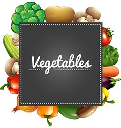 Mixed vegetables around the border vector