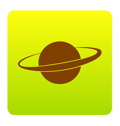 Planet in space sign brown icon at green vector