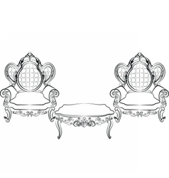 Royal armchair and table set vector