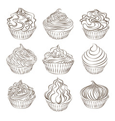 set of cupcake sketch on white vector image