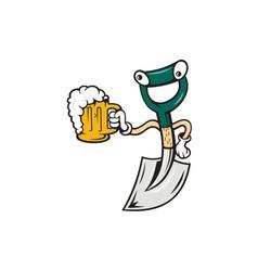 Shovel holding beer mug cartoon vector