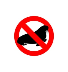 Stop walrus Seal is prohibited Frozen Arctic vector image vector image