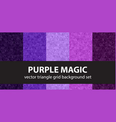 Triangle pattern set purple magic seamless vector