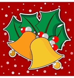 Two golden christmas bells with leaves vector