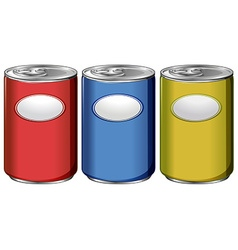 Three cans with different color labels vector