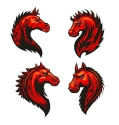 Fire horse head heraldic icons set vector image