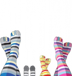 Happy family in stripy socks vector