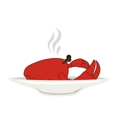 Silhouette colorful dish with hot crab vector