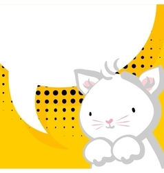 White cute little kitty baby comic balloon vector