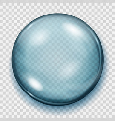 transparent light blue sphere with shadow vector image