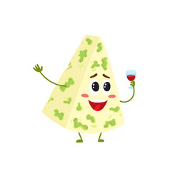 Funny smiling happy blue cheese character vector