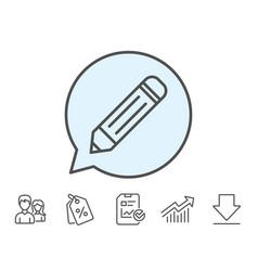 Pencil line icon edit sign vector