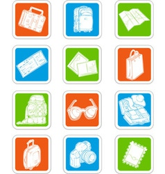Travel icons suitcase map ticket vector