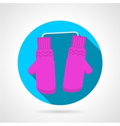 Round flat icon for pink mittens vector
