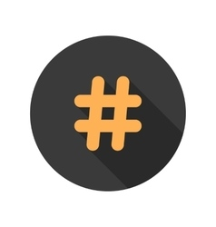 Orange hashtag icon in circle with long shadow vector
