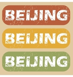 Vintage beijing stamp set vector