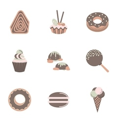 Sweets flat color icons set vector
