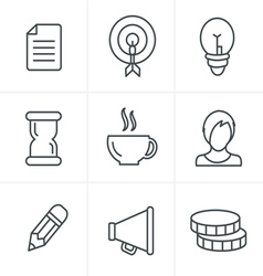 Line icons style business icons set design vector