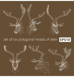 A set of polygonal heads of deer vector