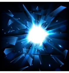 Blue techno style explosion Shatter Glass vector image