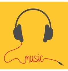 Headphones with red cord in shape of word music vector